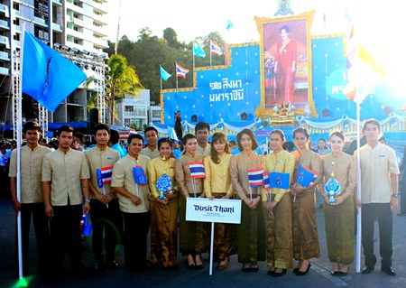 Dusit Thani Pattaya staff members participate in the citywide celebrations of Her Majesty the Queen's birthday, which is also celebrated in the Kingdom as National Mother's Day.