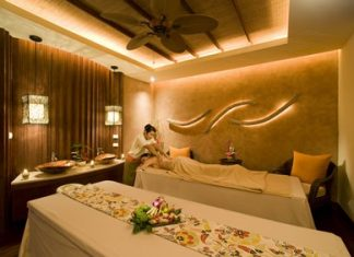 One of the luxurious treatment rooms at the spa.