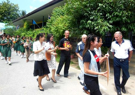 We were welcomed by the school band.