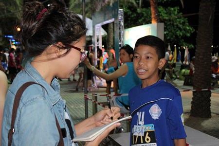 12-year-old Banglamung student Wichaya Kamorawong said he couldn't sleep well the night before the fun run.