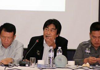 (L to R) Banglamung District Chief Sakchai Taengho, Deputy Mayor Ronakit Ekasingh, and Pol. Col. Supathee Bungkhrong, acting superintendent of Pattaya station address the Pattaya Business & Tourism Association.