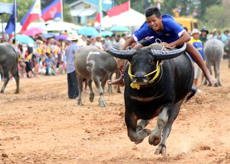 A competitor shows off his riding skills between races.
