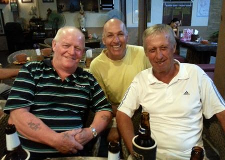 Stars of the week, Rab McDonald, Geoff Cox and Geoff Parker celebrate back at The Ranch.