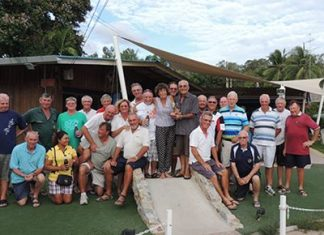The Outback golfers gather for a group photo following the Barry Chadbourn memorial tournament.