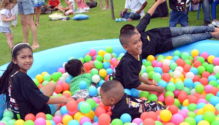Children just love swimming in the colorful ball-pool.
