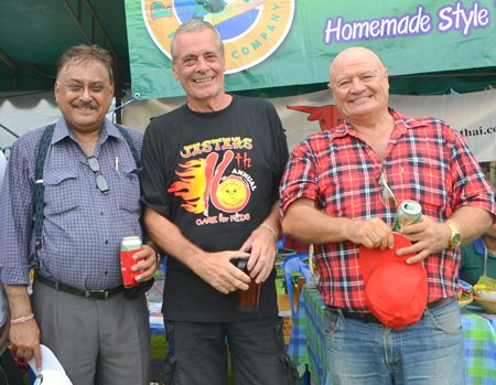 (L to R) Peter Malhotra, Ian Harrington and David (Chad) Chappell renew their friendship at the fair.