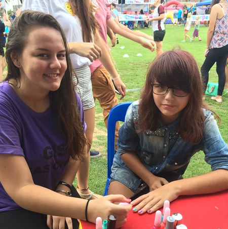 Nail-painting was a popular activity.