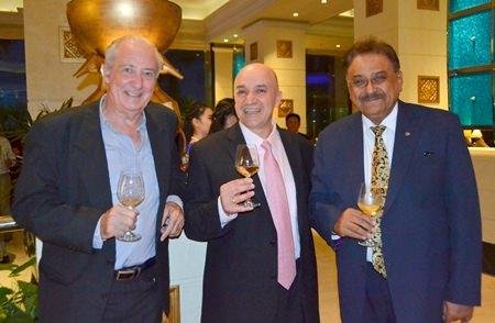 (L to R) Dr. Iain Corness, Shahin Shahabi, vintner at Stonehedge Winery and Pratheep Malhotra, Managing Director of the Pattaya Mail Media Group.