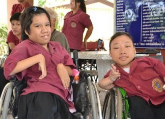 Sakulthip Chairam (left) and Yuwadee Saelee (right) may have been limited in physical ability, but not in spirit.