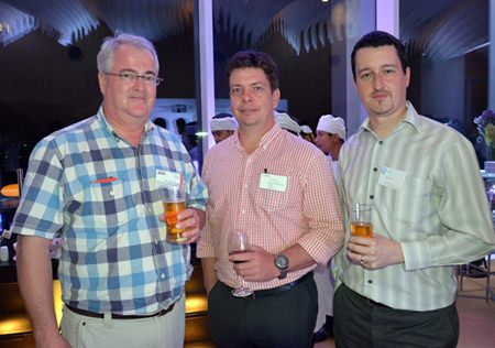 (L to R) Okko Sprey from Plus Exploration, Chris Van Der Merwe from Futuris Thailand and Damien Kerneis, from Geodis Wilson Thailand on their second glass of drinks.