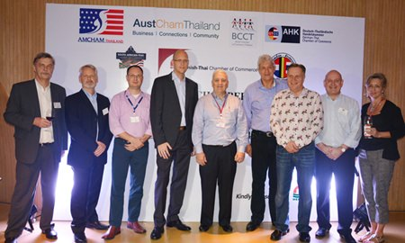 (L to R) Group photo of the directors, representatives of chambers and sponsors of the night, Stig Vagt-Andersen, Consul of the Danish Consulate, Alain Deurwaerder, VP of the Belgian-Luxembourg/Thai Chamber of Commerce, Michael Berger, GM Intergest Thailand, Rudolf Tröstler, GM of Hilton Pattaya, David R. Nardone, President & CEO of Hemraj Land and Development, Leigh Scott Kemmis, President of the AustCham, Simon Matthews, Chairman of the BCCT, Graham Macdonald, President of the SATCC and Judy Benn, Executive Director of AmCham.