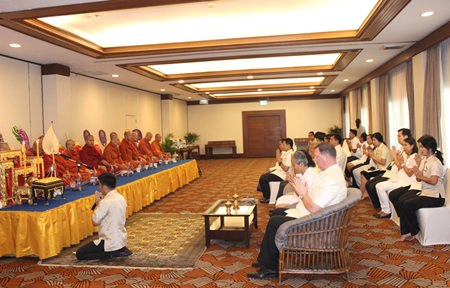 Directors, management and staff celebrate the Pattaya Marriot Resort & Spa's 36th anniversary with religious ceremonies and merit-making.