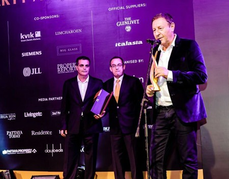 """Rony Fineman from Nova Group accepts his award and says: """"Nova is very proud of the award and this is the third year straight that we win this prestigious award.  It makes us even more aware and determined to do better all the time.  Both Kobi and myself are proud of this honor and looking forward to residents of Amari moving in next year … we will deliver more than expectations."""""""