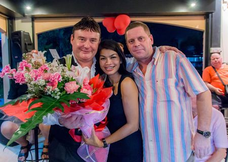 Jimmy Deakin from the Brass House and his lovely wife present Jimmy White with flowers as a small token of appreciation.