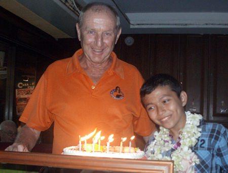 Birthday boy Colin Davis celebrates with son Paul.Birthday boy Colin Davis celebrates with son Paul.
