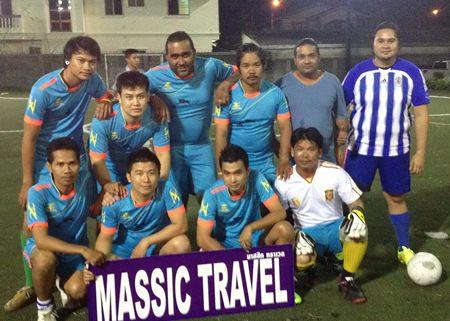 The winning Massic football team - Back row from left: C, Tang, Manin, Kem, Vikrom, and Eddy. Front row from left: Thep, Oil, Ek, and Rew (GK).