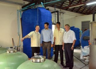 (L to R) Danilo Becker, Peter Abi-Saleh, Sanit and Ralph Rau inspect one the hotel's many cost and energy saving systems.