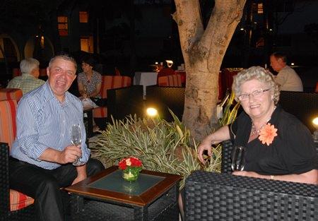 Paul Strachan and his mother Maureen enjoy some Australian wine at Amari.