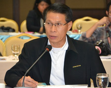 DASTA Deputy Director Damrong Saengkaweelert discusses progress in collecting data for a master database to track the number of hotel rooms available in the Pattaya area and how many tourists will use them.