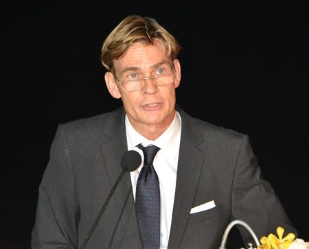 Swedish Ambassador, His Excellency Klas Molin addresses the gathering.