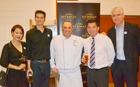 Wipawan and Scott Tanner from MJ Smokehouse, Amari Pattaya's Chef Leonard Faust, Mark Bateman of PRTR Recruitment, and Brendan Daly GM of Amari Pattaya.