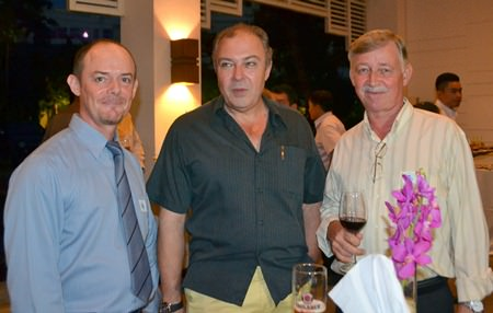 Paul Wood of Defence International Security Services, Rene Pisters, GM of the Thai Garden Resort, and Hans Banzinger of Swiss Paradise Resort.