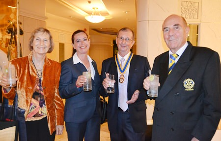 (l-r) Margret Deter, Sabine Schlaffer, President Joseph Roy (Rotary Club Pattaya Marina) and President Otmar Deter (Rotary E-Club of Dolphin-Pattaya International).