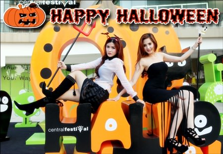 "Today, Oct. 31, is ""All-Hallows-Eve"", better known as Halloween. Throughout Pattaya, many shopping malls, restaurants, bars and entertainment venues will be putting on special attractions to help celebrate this pagan festival to remember the dead like only Pattaya can. Shown here, pretty models welcome one and all to the event at Central Festival Pattaya Beach. Ripley's Believe it or Not! in the Royal Garden Plaza is also famous for Halloween fun. Let's not forget Walking Street, where usually the biggest Halloween parties are held. Happy Halloween!"