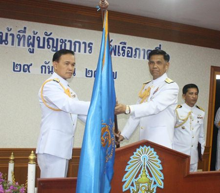 Rear Adm. Susheep Hwangmaitree assumes command of the Royal Thai Navy's eastern region from Vice Adm. Veeraphan Sukkon