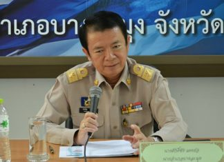 "Banglamung District Chief Sakchai Taengho chairs the recent ""Improve the Intensity of Local Tourism Safety"" forum."