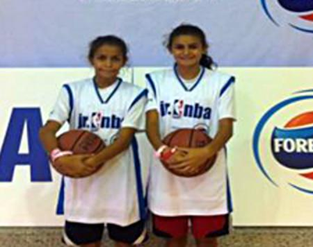 Shanique and her sister at the Jr. NBA competition.