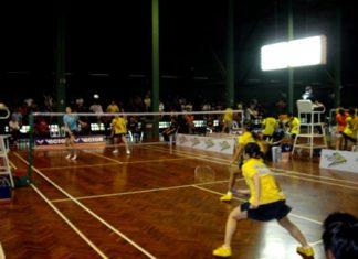 Future badminton stars show their skills on court.
