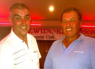PSC Golf Chairman Mark West (left) with 50-50 winner Thierry Petrement.