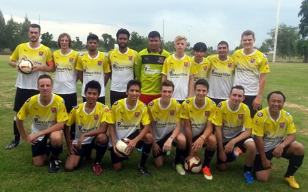 Pattaya City line up before their match against Londoner in Bangkok, Saturday, Oct. 4.