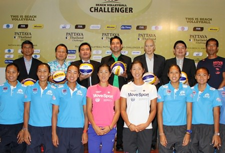 Volleyball players, tournament organizers and Pattaya City officials pose for a photo at an Oct. 28 press conference to promote the upcoming Pattaya Thailand Challenger FIVB beach volleyball event.