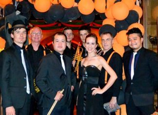 Members of Dutch swing band B2F pose for a photo at Silverlake Wine & Grill, Saturday, November 1.