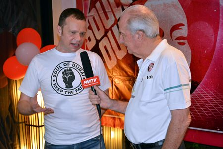 Dr. Iain Corness (right) interviews Steve, from the Soul of Dubai, for PMTV.