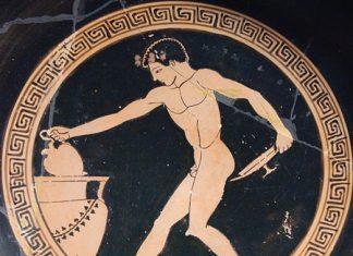Wine-server at a Greek symposium, ca. 490-480 BC.