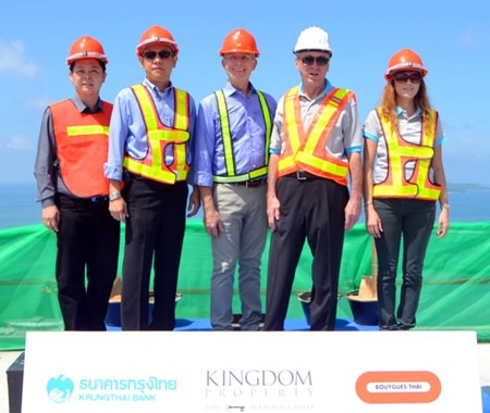 Nigel Cornick(2nd right), CEO of Kingdom Property, poses for a photo with the Southpoint project team during the topping-out ceremony for the 30-storey development on Oct.10.