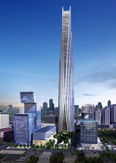An artist's impression shows the 615m Super Tower planned for central Bangkok.