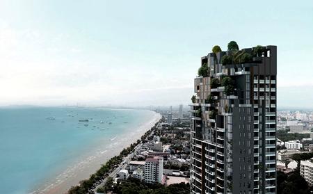 An artist's impression shows the completed AERAS Condominium overlooking Jomtien beach.