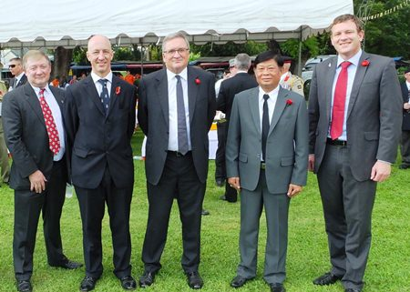 Four Ambassadors and the Governor of Kanchanaburi, the first event for Thailand's new Irish Ambassador Brendan Rogers.