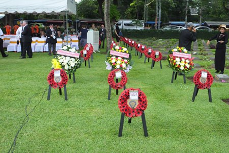 Wreaths at the River Kwai ready to lay.