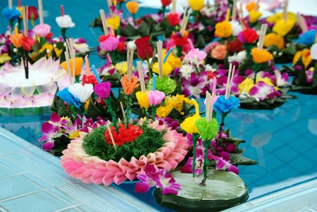 Some of the beautiful krathongs made by students