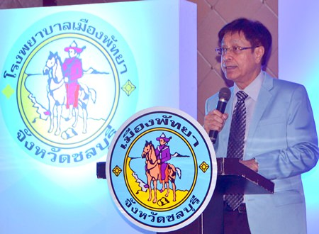 Pattaya Hospital's public-health project manager, Dr. Kritsada Manuyawong, announces that patients, once registered, can use their national health insurance coverage to pay for services there.