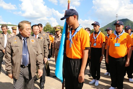"Education Minister Narong Pipatanasai walks among the pre-college students who are now going through a military-style ""boot camp"" to teach them discipline, morals and ethics."