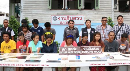 Police arrested 13 people and seized more than 500 methamphetamine pills during a raid of a suspected Sattahip drug den.