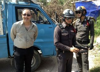 German expat Stefan Guth (left) was fined 500 baht for causing a public scare when he allegedly threatened his ex-girlfriend with a BB gun.