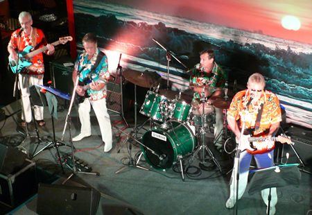 """The Amari's Mantra restaurant a tribute to the Endless Summer, with Pattaya's """"Beach Boys"""" led by Barry Upton on lead guitar."""