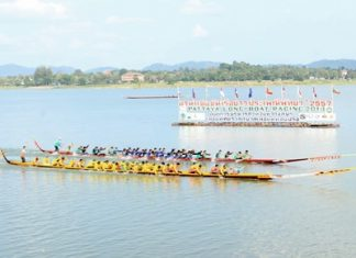 History once again came alive at the 14th annual Pattaya Longboat Races held last weekend at Mabprachan Reservoir. Originally designed for battle against aggressors, this unique and beautifully crafted vessel is now used in races. Each year these races mark the end of the rainy season in Pattaya. Events over the weekend also included buffalo races, Thai Long Drum contest, a pig-catching competition, enduro motorcycle racing, and much more.
